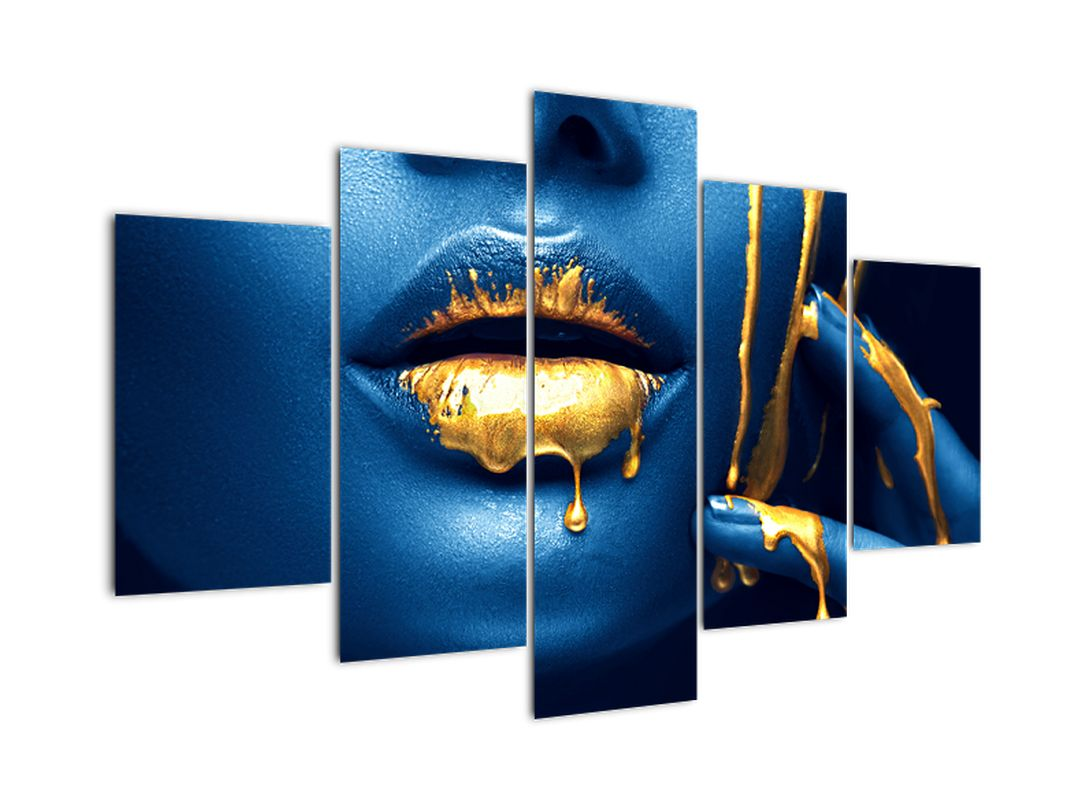 Obraz - tvár so zlatými pery