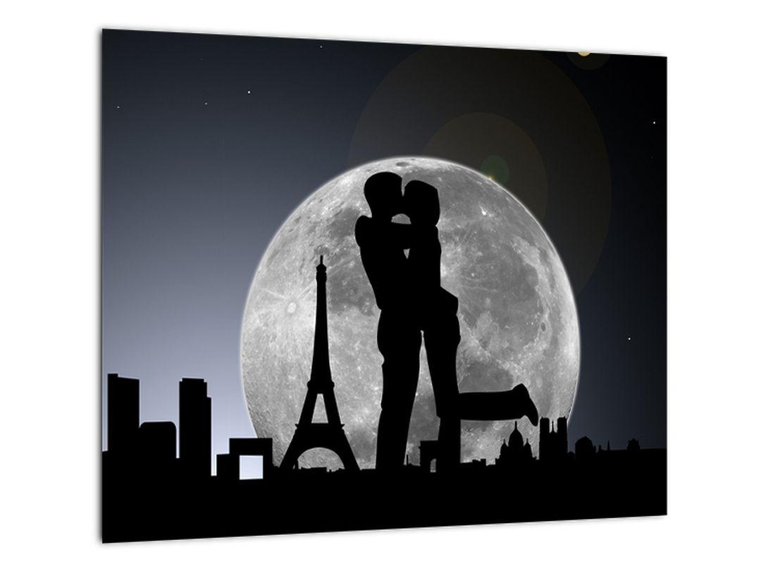 Silueta zamilovaného páru - moderný obraz